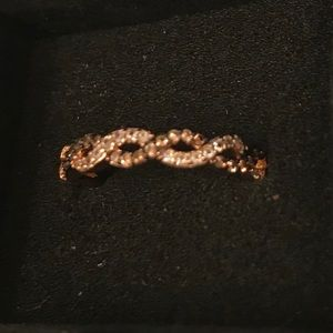 Rose Gold Plated Twist Braided Brown CZ Ring-Sz 7